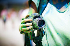 Detail of dirty dslr camera. Equipment mistreat. Stock Photos