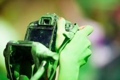 Detail of dirty dslr camera. Equipment mistreat. Royalty Free Stock Image