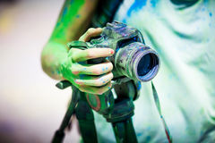 Detail of dirty dslr camera. Equipment mistreat. Royalty Free Stock Photos