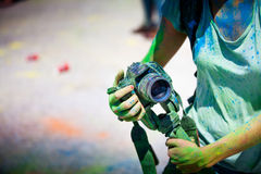 Detail of dirty dslr camera. Equipment mistreat. Stock Images