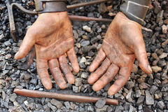 Detail of dirty hands. Blacksmith Stock Photo