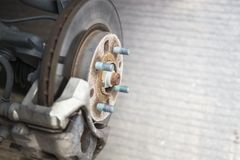 Detail of disc brake system of a car without the wheel to recap. The tire Royalty Free Stock Images