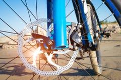 Detail disc brakes on mountain bike Stock Photos