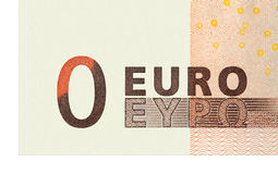 Detail of a distorted banknote of 50 euros. Royalty Free Stock Images