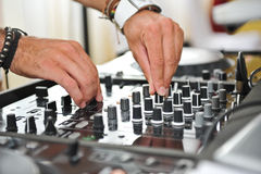 Detail of a dj hands Royalty Free Stock Photo