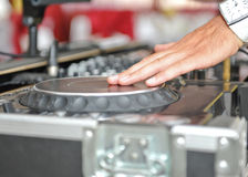 Detail of a dj hands Stock Photo