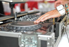 Detail of a dj hands Stock Image