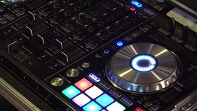DJ turntable in the club. Detail of DJ turntable in the club, UHD 4K stock video footage
