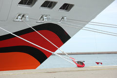 Detail of a docked cruise ship. In a harbor Royalty Free Stock Image