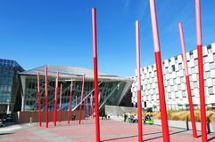 Detail of the Docklands area of Dublin featuring the Bord Gais Theatre in 10. September 2014, Dublin Royalty Free Stock Photo