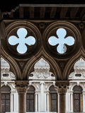 Detail of Doge's Palace Arcade: Gothic Architecture in Venice, I. Taly Stock Photography
