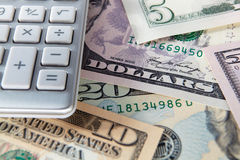Detail dollar bills and calculator Royalty Free Stock Photo
