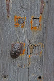 Detail of Door and abstract study Wood texture. Detailed  and abstract study of Wood door with decorative handle Royalty Free Stock Image