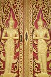 Detail of the door in buddhist temple Stock Photo