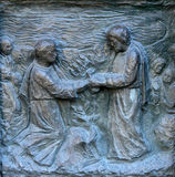 Detail of the door at the church of St Peter, Paris Stock Photography