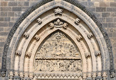 Detail door with Last Supper portal Royalty Free Stock Photography