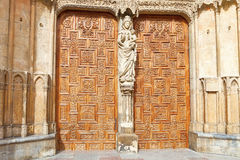 Detail of doors and portico Leon cathedral, Spain Royalty Free Stock Photo