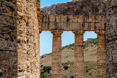 Detail of a Doric Greek Temple in Segesta, Sicily royalty free stock image