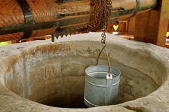 Traditional Draw-well with tin bucket Stock Photos