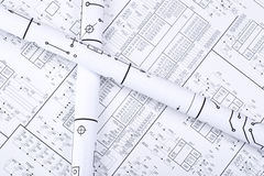 Detail drawings. Drawings rolled in a tube royalty free stock photo