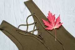 Detail of a dress with ties, color khaki. Maple Leaf. Fashionable concept Stock Image