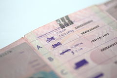 Detail of driving license. Detail of Dutch drivers license with focus on the motorcycle category (A Stock Image