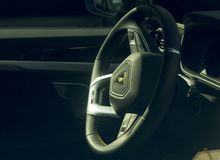 Lamborghini Urus. Detail of the driving position with steering wheel covered with excellent personalized hand-stitched leather, of the new lamborghini-branded stock images