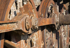 Detail of driving rod mechanism on old steam locomotive Royalty Free Stock Images