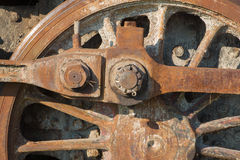 Detail of driving rod mechanism on old steam locomotive Royalty Free Stock Photo
