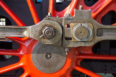 Detail of driving rod mechanism on steam locomotive Royalty Free Stock Photo
