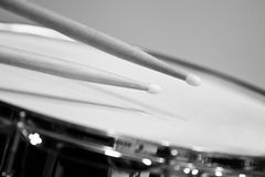 Detail of a drum with drum sticks Stock Photo