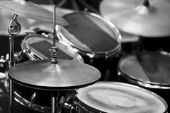 Detail of a drum kit. In black and white royalty free stock images