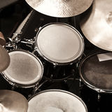 Detail of a drum kit. In dark colors Stock Photo