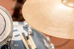 Detail of drum set in rehearsing room Royalty Free Stock Photo