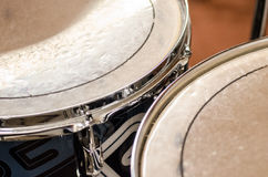Detail drums - toms. Tom tom drum detail in rehearsing room Stock Photo