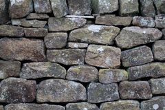 Closeup of drystone wall background texture Royalty Free Stock Photography