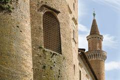 Ducal palace, Urbino. A detail of the ducal palace of Urbino in the Marche region of Italy Royalty Free Stock Image