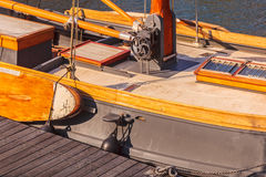 Detail of a Dutch classic wooden sail boat Stock Photography