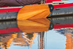Detail of a Dutch classic wooden sail boat Royalty Free Stock Photos