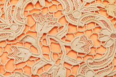 Detail of dutch lace embroidered by needle. Vintage knitting craftsmanship - detail of dutch lace embroidered by needle Royalty Free Stock Photo
