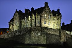 Detail of Edinburgh Castle at nightfall in winter Royalty Free Stock Photo