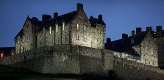 Detail of Edinburgh Castle at nightfall in winter stock photography