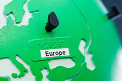 Detail of education globe for childs with braille writing. Europe continent. Close up of world map globe. Focus in Europe stock photos