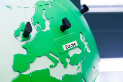 Detail of education globe for childs with braille writing. Europe continent. Close up of world map globe. Focus in Europe royalty free stock image