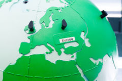 Detail of education globe for childs with braille writing. Europe continent. Close up of world map globe. Focus in Europe royalty free stock photography