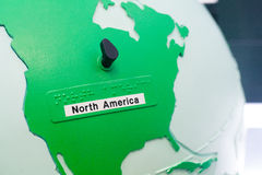 Detail of education globe for childs with braille writing. North. Close up of world map globe. Focus in North America stock image