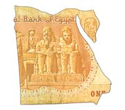 1 egyptian pound bank note reverse in shape of egypt royalty free stock photography