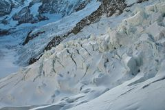 Detail of the Eiger glacier. Seracs and crevasses. Royalty Free Stock Photo