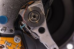 Detail einer Festplatte des Computers Stockbild
