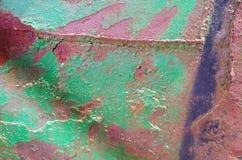 Detail einer Metallwand Stockbild